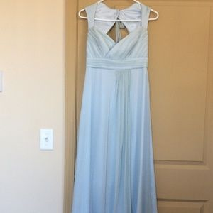 Amsale Chiffon Ice Blue Bridesmaid Dress